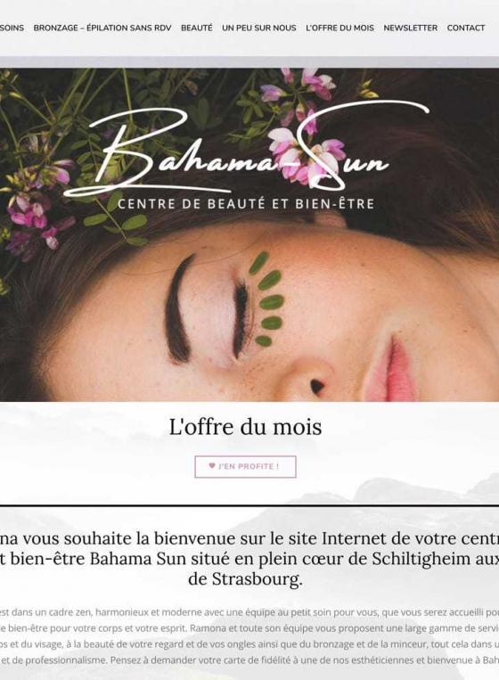 Page d'accueil du site Bahama Sun