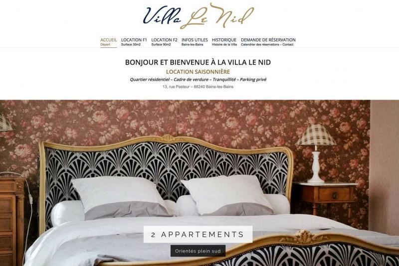 Page d'accueil du site Villa le Nid