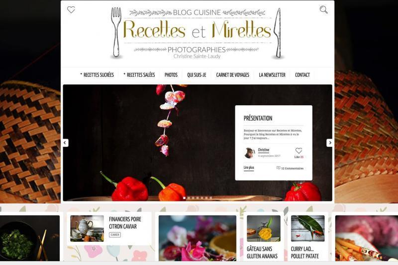 La page d'accueil du site Recettes et Mirettes